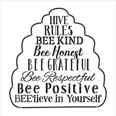 Hive Rules - Word Art Stencil - Select Size - - by Bee Quotes, Word Stencils, Bee Party, Bee Crafts, Bee Theme, Word Art, Cool Words, Classroom Themes, Positivity