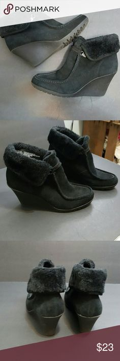 "White Mountain size 10 Black suede leather slip on bootie, 3.5"" rubber heel,  with a fur cuff at ankle.  These boots have never been worn outside.  Sat in closet waiting for you.... very cool boot White Mountain  Shoes"