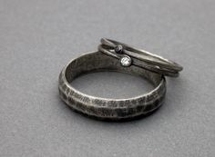 white diamond black diamond wedding ring engagement ring stackable wedding rings ring simple modern wedding simple sterling silver on Wanelo $350