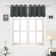 Deconovo Solid Color Grommet Blackout Curtains Short Curtains Blackout Valance Kitchen Curtains for Living Room 52 X 18 Inch Dark Grey 2 Panels