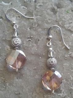 Light pink smoke and silver dangle earrings. by Trinkets4Travel, $12.00 Proceeds support student educational travel