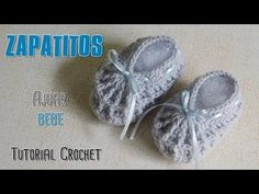 Como tejer un ajuar a crochet: zapatitos, escarpines a crochet - YouTube