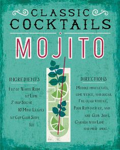 a mojito print to hang on the wall of your kitchen (it includes how to make one!)