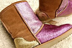DIY glitter shoes.  I have a pair of gray old navy boots I would LOVE to do this too!