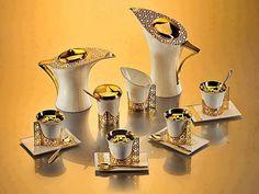Sada na kávu * bílý porcelán zdobený zlatem ♥