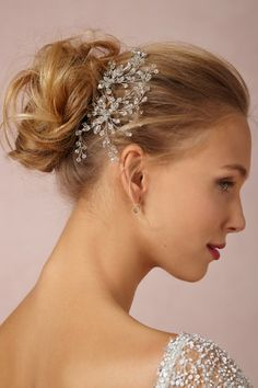 Jane Tran - Dewed Vines Hairpin . glass crystals . color : silver : crystal TWO HAIRPINS ARE SHOWN .  http://www.bhldn.com/shop-the-bride-veils-headpieces-pins-clips-combs/dewed-vines-hairpin-silver/productoptionids/2cfdddea-ce77-41fb-bdf9-1bdcb7ca63f8