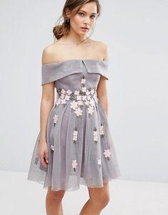 e3b70bb5e44 New Look Premium Floral Mesh Bardot Skater Dress grey asos