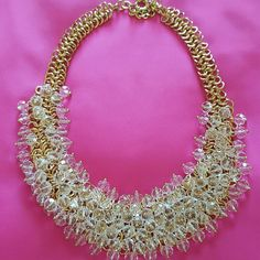 Chandelier necklace Gold tone crystal costume necklace Jewelry Necklaces