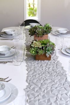 Geometric Table Runner and Succulents | Photo by Kate LeSueur |  Camille Styles