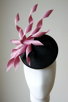 JADE - Esther-Louise black straw and pink silk hat