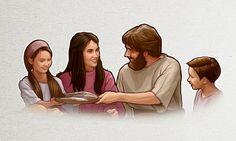 Um homem come com sua família