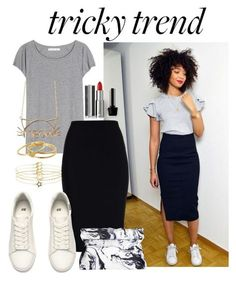 """""""Tricky Trend: Pencil Skirts and Sneakers"""" by joslynaurora ❤ liked on Polyvore featuring Acne Studios, Roland Mouret, H&M, Gorjana, Accessorize, Givenchy and TrickyTrend"""