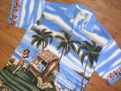 ALOHA! MENS medium BIG DOGS s/s HAWAIIAN SHIRT palm trees TIKI BAR hula girls #BigDogs #Hawaiian