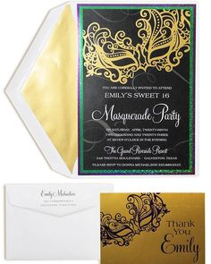 Masquerade Triple Layer Invitation with foil accents. Choice of paper for base and middle layers. Choice of metallic foil color for mask accent printing. Invitation copy will be printed in reversed out white on black background. Sweet 16 Masquerade, Masquerade Party, Masquerade Wedding Invitations, Sweet 16 Invitations, Invites, Custom Napkins, Wedding Invitation Inspiration, Wedding Gifts For Guests, Guest Gifts
