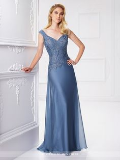 Montage by Mon Cheri - 117903 - Two-tone chiffon and lace A-line gown with slight cap sleeves, front and back V-necklines, hand-beaded lace bodice, asymmetrically dropped waistline, sweep train. Matching shawl included.Sizes: 4 - 20, 16W - 26WColors: Wine, Wedgwood, Navy Blue