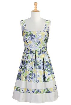 I <3 this Abstract floral print retro frock from eShakti  -  dress, flower, white trim, blues with some yellow.       lj