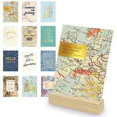 Eccolo World Traveler Travel Art Desk Stand Wooden Block Stand 12 Gold Stamped Inspirational Cards ** Click image for more details.-It is an affiliate link to Amazon. #DecorativeAccessories
