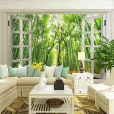 Nature Inspired Home Decor shibataea mural | natural interior, mural wall and nature inspired