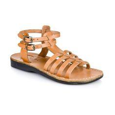 Leah - Leather Gladiator Sandal | Tan Ankle Strap Flats, Ankle Straps, Strap Sandals, Toe Loop Sandals, Closed Toe Sandals, Natural Leather, Tan Leather, Leather Gladiator Sandals, Brown Sandals