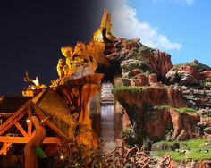 Transition of Splash Mountain in the Magic Kingdom from day to night. Disney Vacations, Disney Trips, Disney Travel, Foto Face, Song Of The South, Disney Movies To Watch, Splash Mountain, Disney Magic Kingdom, Disney Facts