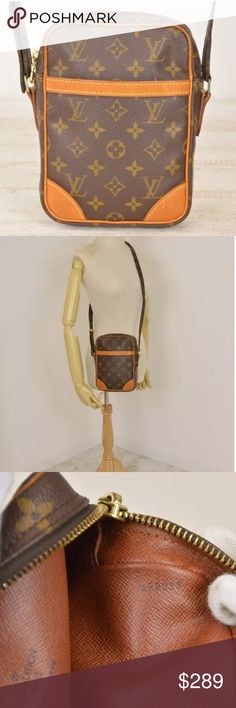 """💯Authentic Louis Vuitton Danube crossbody vintage Beautiful and casual LV vintage! Leather trims have scratches and turned into a honey patina. Straps are in great condition. Inside is clean. Outside pocket has peeling and minor stickiness. Monogram canvas is intact, no rips, no tears. Measurements: 6.1W x 8.27H x 1.77D"""" - made in France in March, 2000 - Date code: AR0030 - 100% Authentic Louis Vuitton Bags Crossbody Bags"""