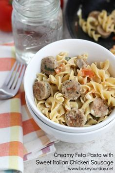 Creamy Feta Pasta with Sweet Italian Chicken Sausage | bakeyourday.net