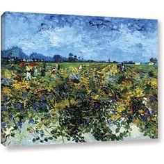 Vangogh Green Vineyard Wrapped Canvas Art, Size: 36 x 48, Green