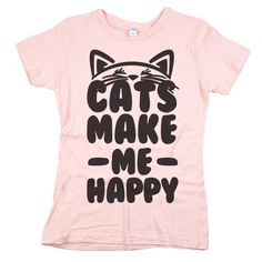 """Who said you're hard to please? All you need is a cat or two (or five) in your life and you'll be just fine. Our """"Cats Make Me Happy"""" tee is perfect!"""