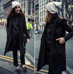 American Apparel Beanie, Zara Coat, Choies Jumper, Marciano Pants, Office Shoes