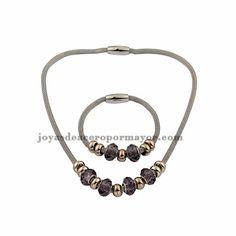 juego de Collar y pulsera con abalorios de acero inoxidable para mujeres-SSNEG411455