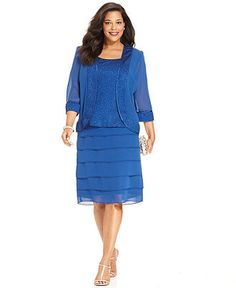 Le Bos Plus Size Evening Suit, Three-Quarter-Sleeve Jacket, Sleeveless Top & Tiered Skirt - Plus Size Dresses - Plus Sizes - Macy's.  Mother of the bride.  Meets the criteria, sleeves, knee length skirt,  jacket, light material.  Sheesh... picky, picky, picky!