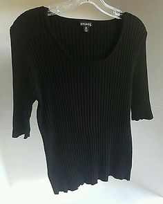 Women's George Knitted Short Sleeve Black  Blouse Sweater Large 12 14