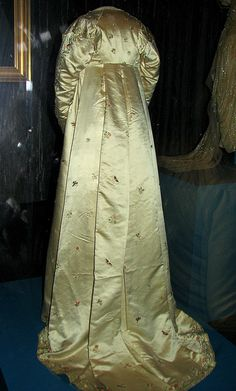"Dolley Madison embroidered gown back..but she was not just a pretty lady, she was a smart, accomplished woman.  She returned to DC after her husband's death in 1817 & was the 1st woman to serve in the House of Representatives until her death at 81 years old. Juist amazing!  President Taylor called her the ""First Lady"" for over half a century...the phase stuck and First Ladies became the norm..."