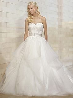BallGown Sweetheart Tulle Satin Sweep Train White Appliques Wedding Dresses at Millybridal.com