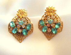 Rhinestone Earrings Basket Full Of Posies In by VJSEJewelsofhope, $8.00
