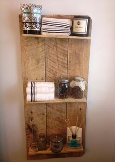 Bathroom Shelving Rustic and Reclaimed Wooden Shelving Unit by MadeInAldie on Etsy, $70.00