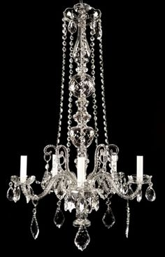 Antique crystal chandelier - unique and graceful lines,  c1930 hand-blown glass arms
