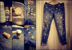 DIY Polka Dot Distressed Boyfriend Jeans