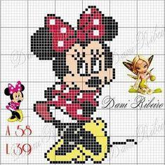 Minnie Mouse x-stitch Disney Cross Stitch Patterns, Cross Stitch Charts, Cross Stitch Designs, Pixel Crochet Blanket, Tapestry Crochet, Disney Stich, Small Cross Stitch, Bobble Stitch, Mickey And Friends