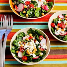 Mediterranean Spinach Salad with Garbanzos, Tomatoes, Radishes, and Sumac-Lemon Vinaigrette  [#SouthBeachDiet friendly #Recipe from Kalyns Kitchen]