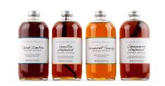 Dark Amber, Vanilla Infused, Vermont Fancy &Cinnamon Infused Maple Syrups