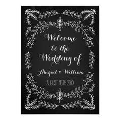 Wedding Welcome Custom Sign Floral Chalkboard Poster
