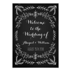 Wedding Welcome Custom Sign Floral Chalkboard Poster