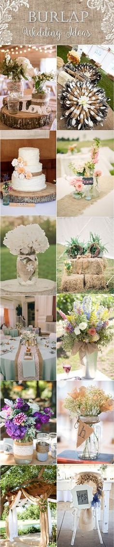 Rustic country burlap and lace wedding ideas / http://www.deerpearlflowers.com/rustic-wedding-themes-ideas/