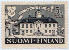 Porvoo town hall, designed by Hammarsten-Jansson, issued on December 1946 to mark the city's anniversary, Scott No. Historical Women, 12th Century, Town Hall, Women In History, Postage Stamps, Finland, City, Collection, Older Men