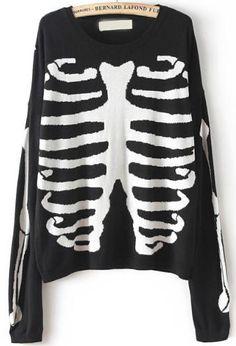 Jersey punto esqueleto manga larga-negro 16.64