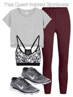 """Thea Queen Inspired Sportswear"" by staystronng ❤ liked on Polyvore featuring Monki, NIKE, Arrow, sportswear, gym and theaqueen"