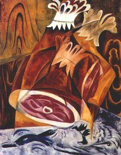 still life with ham by Natalia Goncharova