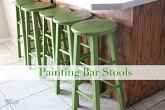 BeingBrook: How to Paint Bar Stools Kitchen makeover Painted Bar Stools, Wood Bar Stools, Kitchen Stools, Bar Stool Makeover, Furniture Makeover, Diy Furniture, Redoing Furniture, Repurposed Furniture, Apartment Bar