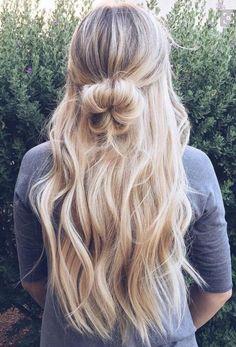 half up half down | braid bun | long curly hairstyles | highlights | blonde | dark root